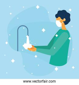 Man with mask washing her hands vector design