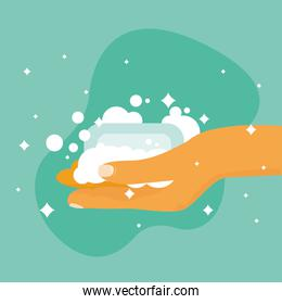hands washing with soap and bubbles vector design