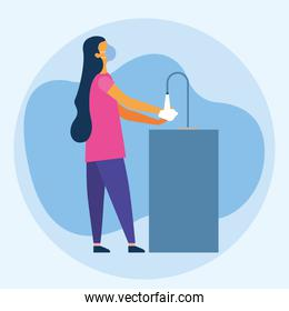 Woman with medical mask washing her hands vector design