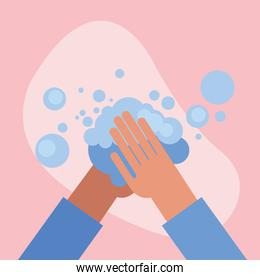 Hands washing with bubbles vector design