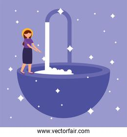 Woman washing her hands vector design