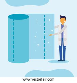 male doctor with tissues roll vector design