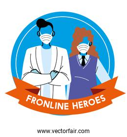 Thanks to the frontline heroes. Doctor and secretary wearing masks
