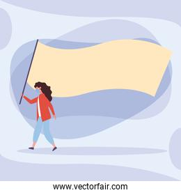 Woman with medical mask and banner board vector design