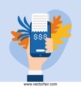 hand holding dataphone with leaves vector design