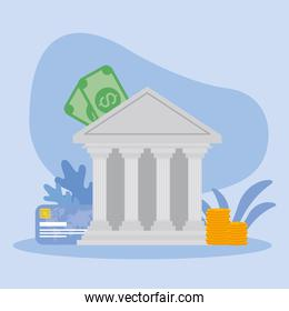 bank with bills coins and credit card vector design