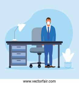Office distancing of man with mask and desk vector design