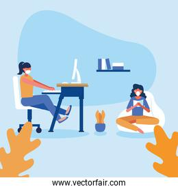 Office distancing between women with masks on desk and puf vector design