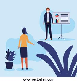 Office distancing between man and woman with mask and board vector design