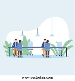 Office distancing between men with masks on table vector design