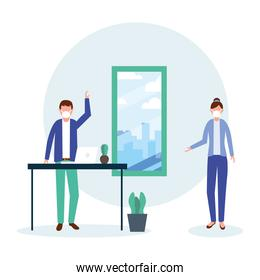 Office distancing between man and woman with mask and table vector design
