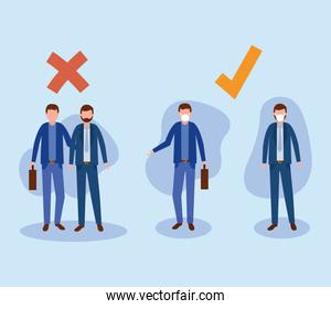 Office distancing between men with masks and suitcases vector design