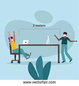 Office distancing between man and woman with mask on table vector design
