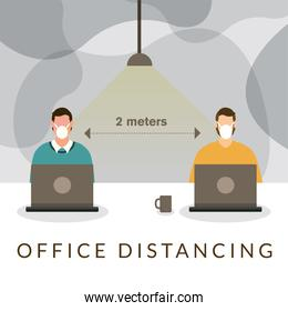 Office distancing between men with masks and laptops vector design