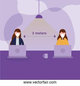 Office distancing between women with masks and laptops vector design