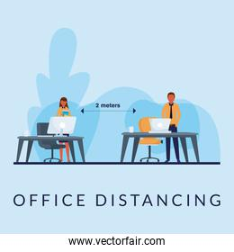 Office distancing between man and woman with mask on desks vector design