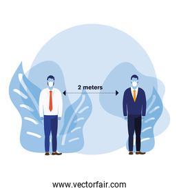 Office distancing between men with masks and leaves vector design