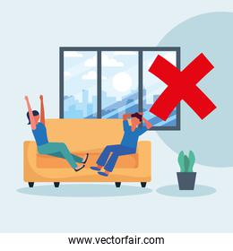 Office distancing between man and woman on couch vector design