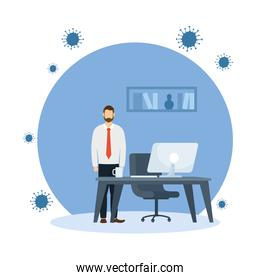 Office distancing of man with desk and computer vector design