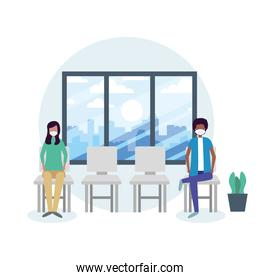 Office distancing between man and woman with mask on chair vector design