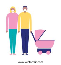 Mother father and baby with masks vector design