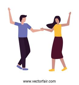Couple of woman and man dancing vector design