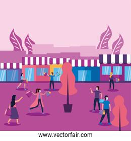 Women and men with masks bags and stores vector design