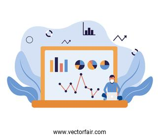 man with mask and infographic on laptop vector design