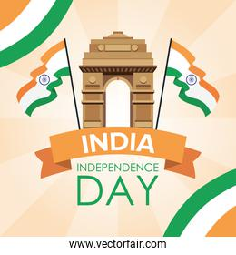 Intependence day india with temple arch