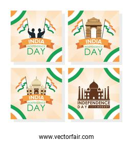 Intependence day india with flags and set icons