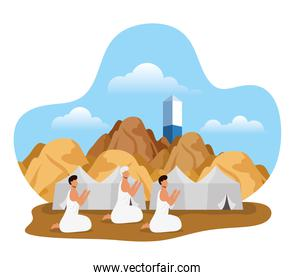 Hajj pilgrimage with people in tents