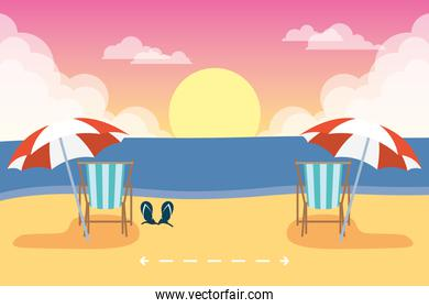 beach chairs with social distancing scene ,summer time vacations