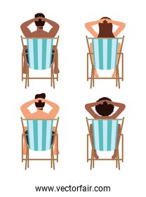 people on the beach chairs summer vacations scene