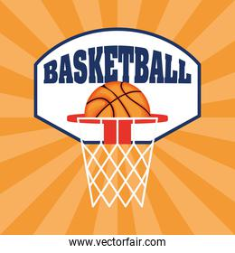Basketball game sport with balloon in net emblem
