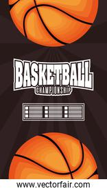 Basketball game sport with balloons and lettering emblem