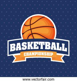 Basketball game sport with balloon and lettering emblem