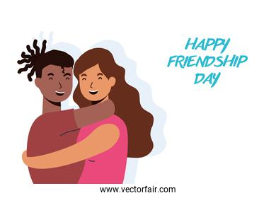 young interracial couple characters in Friendship day celebration