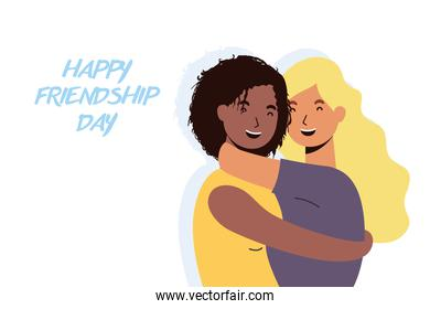 young interracial girls characters in Friendship day celebration