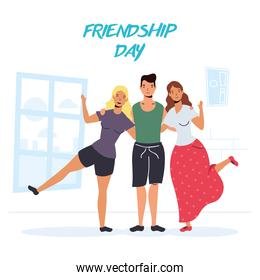 young people characters in Friendship day celebration