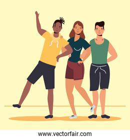 young interracial people characters in Friendship day celebration
