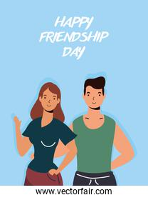 young couple characters in Friendship day celebration