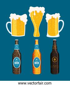 Beer day celebration event with bottles and jars