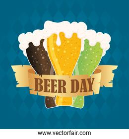 Beer day celebration event with jars colors
