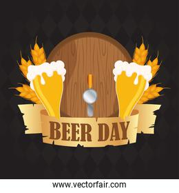 Beer day celebration event with jars and barrel