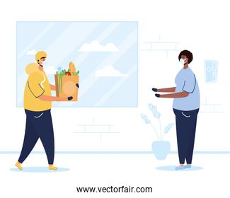 safe food delivery worker with groceries bag and client