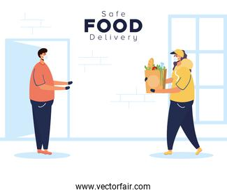 safe food delivery female worker with groceries bag and client