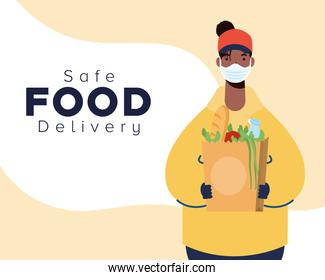 card of safe food delivery afro female worker with groceries bag