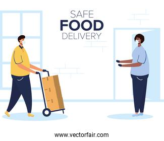 safe food delivery worker with boxes in cart and client