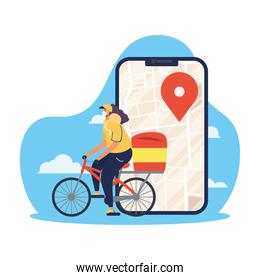 safe food delivery female worker in bicycle with smartphone for covid19