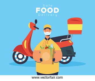 safe food delivery worker with groceries bag in motorcycle